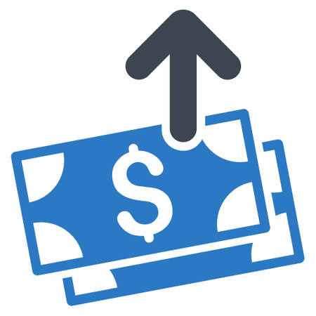 banknotes: Send Banknotes icon. Glyph style is bicolor flat iconic symbol with rounded angles, smooth blue colors, white background.