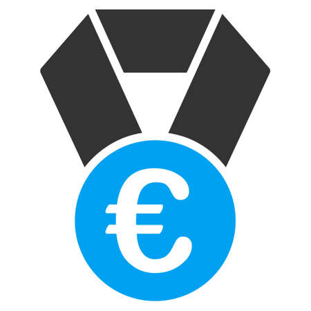 Euro Champion Medal icon. Glyph style is bicolor flat iconic symbol, blue and gray colors, white background. Stock Photo