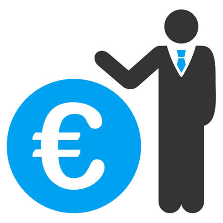 economist: Euro Economist icon. Glyph style is bicolor flat iconic symbol, blue and gray colors, white background.