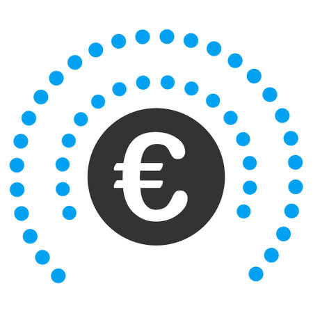 money sphere: Euro Shield Sphere icon. Glyph style is bicolor flat iconic symbol, blue and gray colors, white background.