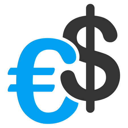 Euro and Dollar Currency icon. Vector style is bicolor flat iconic symbol, blue and gray colors, white background.