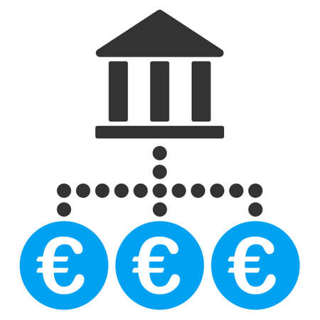 Euro Bank Transactions icon. Vector style is bicolor flat iconic symbol, blue and gray colors, white background. 矢量图像