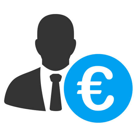 economist: Euro Banker icon. Vector style is bicolor flat iconic symbol, blue and gray colors, white background.