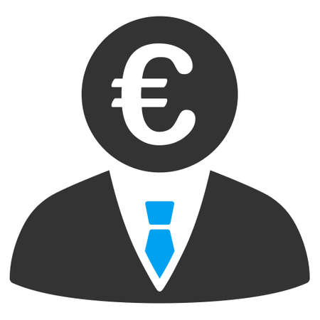 bureaucrat: Euro Clerk icon. Vector style is bicolor flat iconic symbol, blue and gray colors, white background.