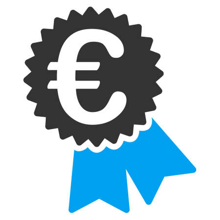 featured: Euro Featured Price Tag icon. Vector style is bicolor flat iconic symbol, blue and gray colors, white background.