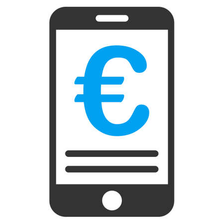 touchpad: Euro Mobile Banking icon. Vector style is bicolor flat iconic symbol, blue and gray colors, white background.