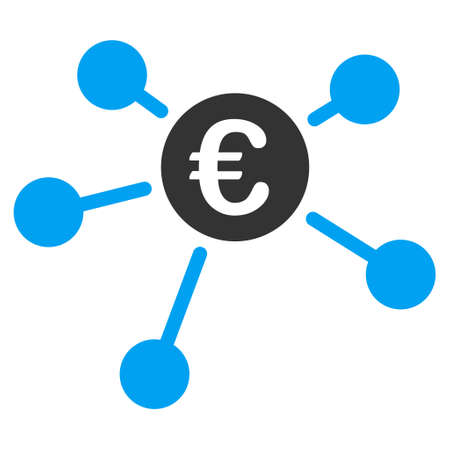 Euro Links icon. Vector style is bicolor flat iconic symbol, blue and gray colors, white background.