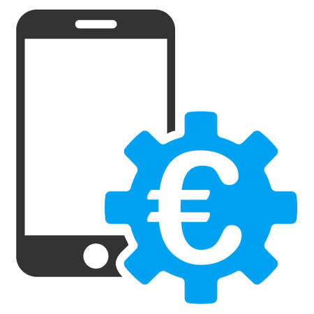 Euro Mobile Bank Configuration icon. Vector style is bicolor flat iconic symbol, blue and gray colors, white background.