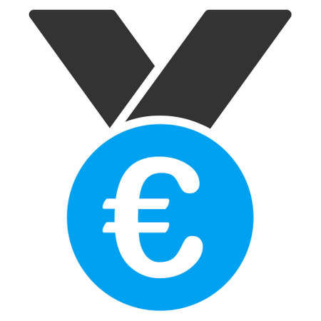 favorite number: Euro Prize Medal icon. Vector style is bicolor flat iconic symbol, blue and gray colors, white background. Illustration