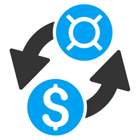 blue icon: Dollar Currency Exchange icon. Vector style is bicolor flat iconic symbol with rounded angles, blue and gray colors, white background.