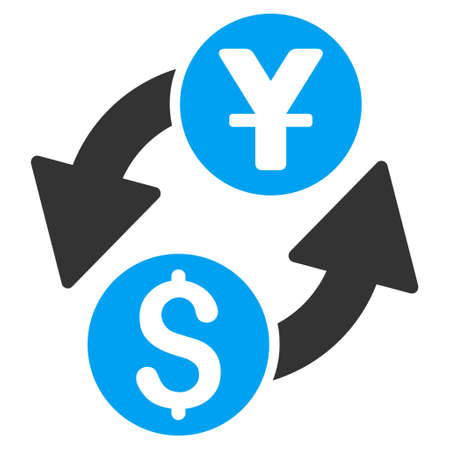 Dollar Yuan Exchange icon. Vector style is bicolor flat iconic symbol with rounded angles, blue and gray colors, white background. Illustration