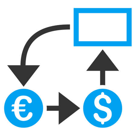 cashflow: Cashflow icon. Vector style is bicolor flat iconic symbol, blue and gray colors, white background. Illustration
