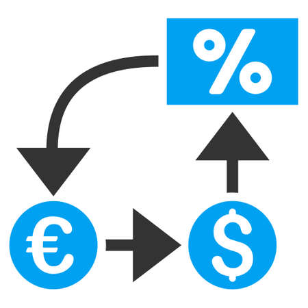 cashflow: Currency Cashflow icon. Vector style is bicolor flat iconic symbol, blue and gray colors, white background.
