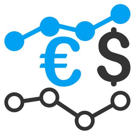 通貨チャート アイコン。ベクトルは、バイカラー フラット象徴的なシンボル、青と灰色の色、白の背景です。