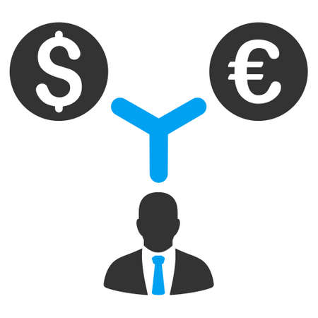 financial consultant: Currency Manager icon. Vector style is bicolor flat iconic symbol, blue and gray colors, white background.