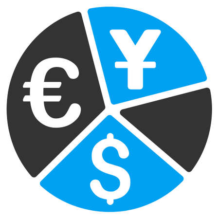 pie chart icon: Currency Pie Chart icon. Vector style is bicolor flat iconic symbol, blue and gray colors, white background.