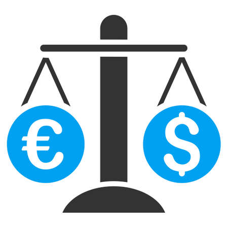 equilibrium: Currency Scales icon. Vector style is bicolor flat iconic symbol, blue and gray colors, white background.