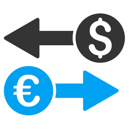 transfers: Currency Transfers icon. Vector style is bicolor flat iconic symbol, blue and gray colors, white background.