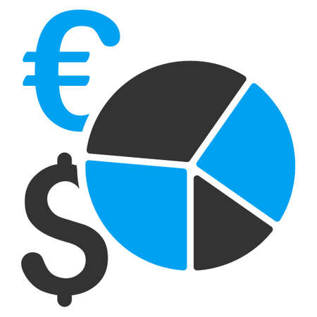 pie chart icon: Dollar and Euro Pie Chart icon. Vector style is bicolor flat iconic symbol, blue and gray colors, white background.