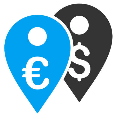 Euro and Dollar Map Markers icon. Vector style is bicolor flat iconic symbol, blue and gray colors, white background.