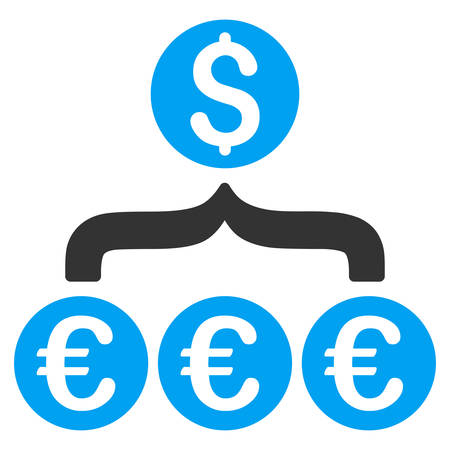 filtration: Euro Dollar Conversion Aggregator icon. Vector style is bicolor flat iconic symbol, blue and gray colors, white background.