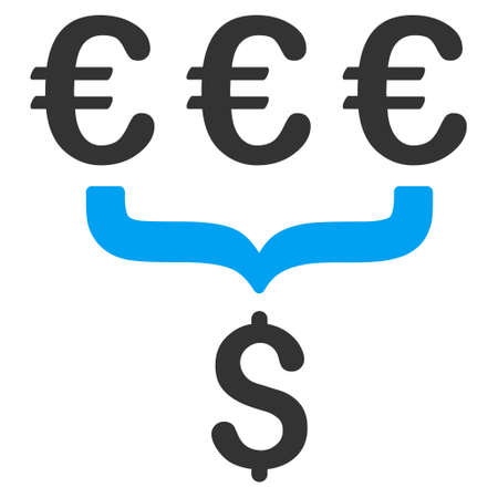conversion: Euro Dollar Conversion Aggregator icon. Vector style is bicolor flat iconic symbol, blue and gray colors, white background.