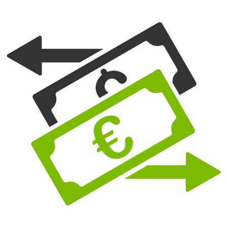 bank activities: Banknotes Exchange icon. Glyph style is bicolor flat iconic symbol, eco green and gray colors, white background.