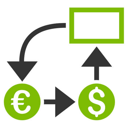 cashflow: Cashflow icon. Glyph style is bicolor flat iconic symbol, eco green and gray colors, white background.