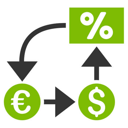 cashflow: Currency Cashflow icon. Glyph style is bicolor flat iconic symbol, eco green and gray colors, white background.