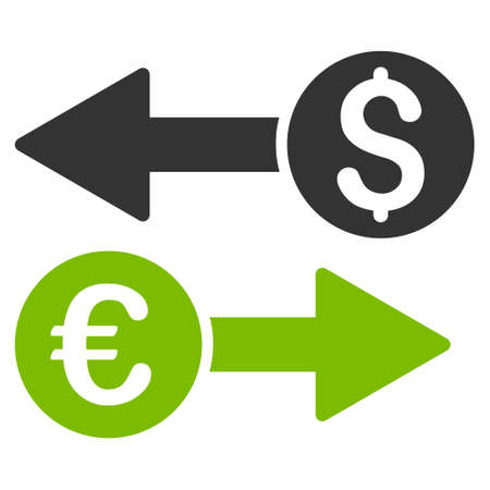 transfers: Currency Transfers icon. Glyph style is bicolor flat iconic symbol, eco green and gray colors, white background.