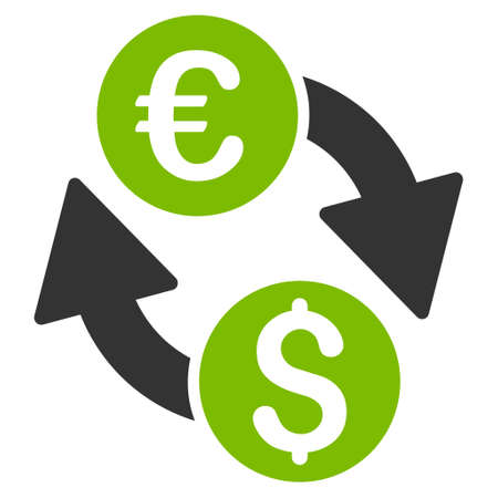 Euro Dollar Change icon. Glyph style is bicolor flat iconic symbol, eco green and gray colors, white background. Stock Photo