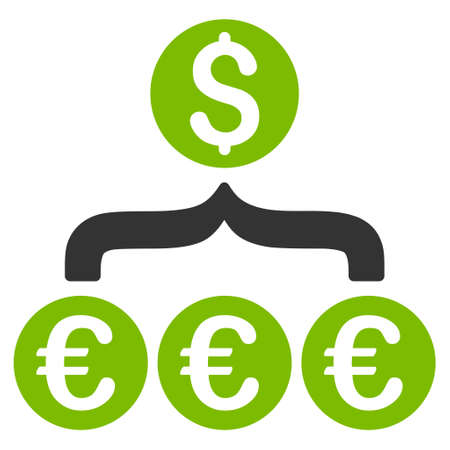 Euro Dollar Conversion Aggregator icon. Glyph style is bicolor flat iconic symbol, eco green and gray colors, white background. Stock Photo