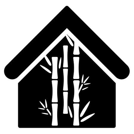 bamboo house: Bamboo House icon. Vector style is flat iconic symbol, black color, white background.