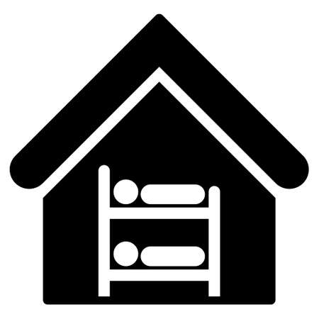 Hostel icon. Vector style is flat iconic symbol, black color, white background.