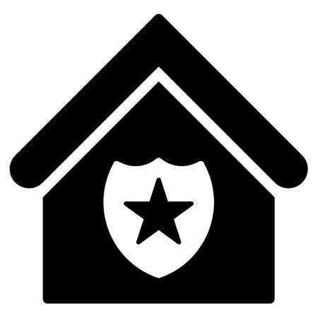 prison house: Realty Protection icon. Vector style is flat iconic symbol, black color, white background. Illustration