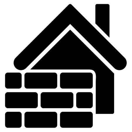 prison house: Realty Brick Wall icon. Vector style is flat iconic symbol, black color, white background.