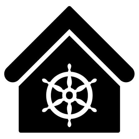 wheel house: Steering Wheel House icon. Vector style is flat iconic symbol, black color, white background.