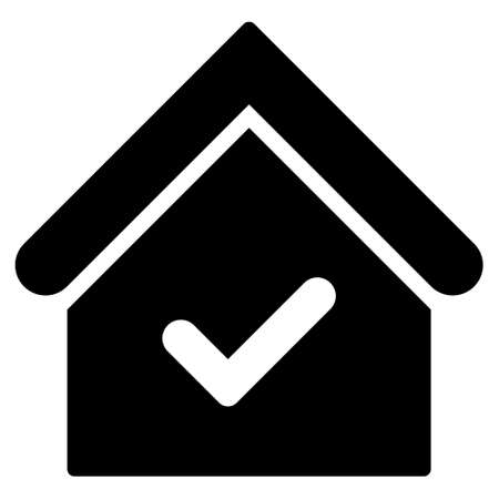 valid: Valid House icon. Vector style is flat iconic symbol, black color, white background. Illustration