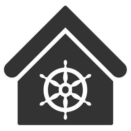 wheel house: Steering Wheel House icon. Glyph style is flat iconic symbol, gray color, white background.