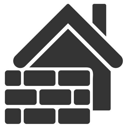 realty: Realty Brick Wall icon. Glyph style is flat iconic symbol, gray color, white background.