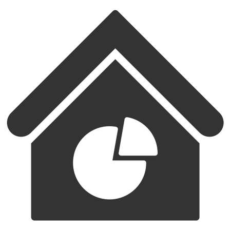 realty: Realty Pie Chart icon. Glyph style is flat iconic symbol, gray color, white background. Stock Photo