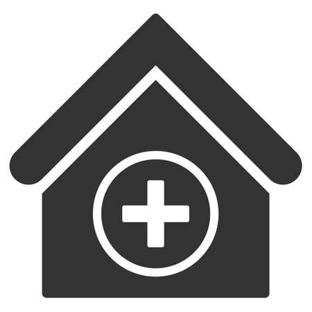 first house: Add Building icon. Vector style is flat iconic symbol, gray color, white background.