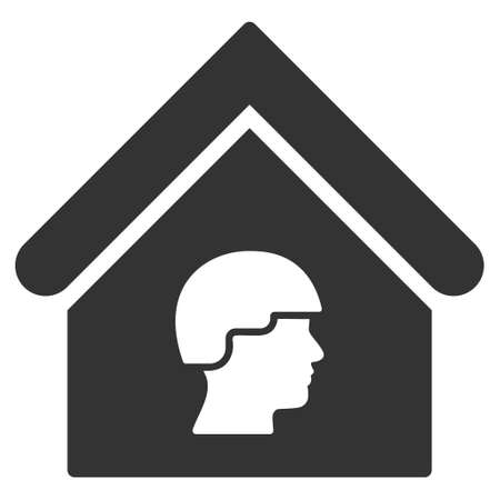 barrack: Barrack Building icon. Vector style is flat iconic symbol, gray color, white background.