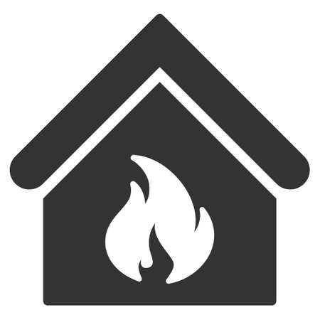 building on fire: Building Fire icon. Vector style is flat iconic symbol, gray color, white background.