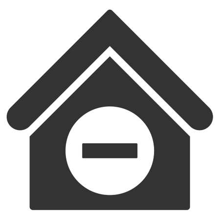 subtract: Deduct Building icon. Vector style is flat iconic symbol, gray color, white background. Illustration