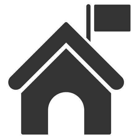 govern: Government Building icon. Vector style is flat iconic symbol, gray color, white background.