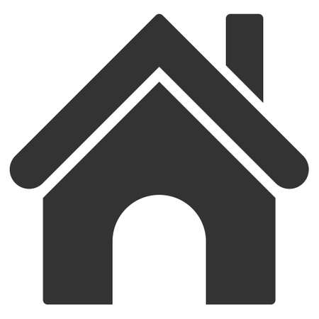 habitation: Home icon. Vector style is flat iconic symbol, gray color, white background.