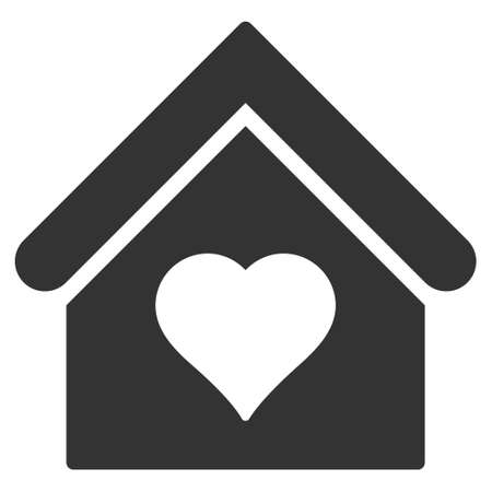 Love House icon. Vector style is flat iconic symbol, gray color, white background.