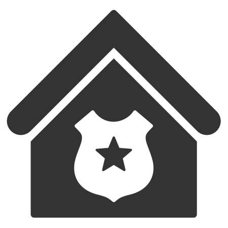 guard house: Police Office icon. Vector style is flat iconic symbol, gray color, white background.