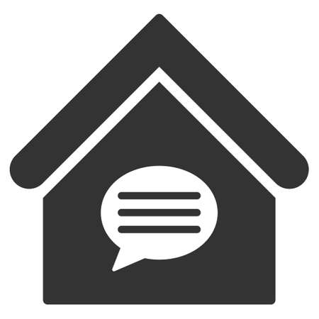 realty: Realty Message icon. Vector style is flat iconic symbol, gray color, white background.